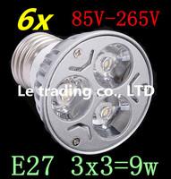 6pcs/lot Dimmable LED Lamp E27 3X3W 9W 85V-265V LED Light Bulbs Spotlight Free shipping