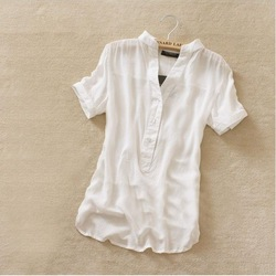 Retail Free shipping new fashion womens summer chiffon shirt silk tops loose blouses shirts for women(China (Mainland))
