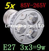 5pcs/lot Dimmable LED Lamp E27 3X3W 9W 85V-265V LED Light Bulbs Spotlight Free shipping