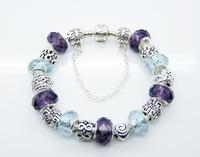 925 silver bracelet-APB78-Free shipping Wholesale Price Top Quality 925 Silver Glass Bead Charm Bracelet Fashion silver Bracelet