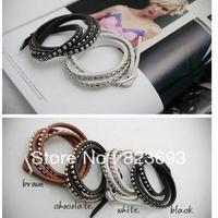 Christmas Gift (Minimum $ 5) New Hemp Surfer Tribal Multi Wrap Cuff Leather Bracelet Bangle Stud Wristband (Min order$5)