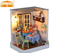 Free Shipping Kids Novelty Assembly Miniature Dollhouse DIY Sweety Pastoral House With LED Lamps Glass House Toys