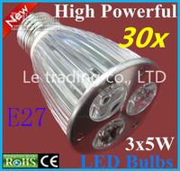 30pcs/lot E27 Dimmable 3X5W 15W 85V-265V LED Lamp LED Light Bulbs Spotlight Warm White/Cool White Free shipping