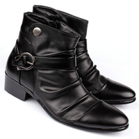 free shipping The trend of shoes boots elevator shoes fashion shoes pointed toe high leather male high-top shoes