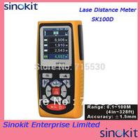 Hand Held Laser Distance Meter USB Area Volume Range Finder Pythagorean Theorem 100m/328ft Measure Range SK100D