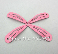 wholesale free shipping 250pcs/Lot  Pink Round hole The front arc Snap Clip 40mm DIY Craft Girl Hair Bow F26-1