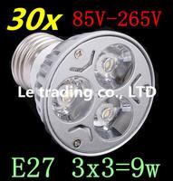 30pcs/lot Dimmable LED Lamp E27 3X3W 9W 85V-265V LED Light Bulbs Spotlight Free shipping