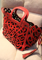 2013 women's handbag fashion street basket handbag bag candy color cutout tassel bag