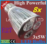 8pcs/lot E27 Dimmable 3X5W 15W 85V-265V LED Lamp LED Light Bulbs Spotlight Warm White/Cool White Free shipping