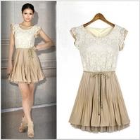 Women's Fashion  Chiffon Dress / Summer Slim  Dress  with Lace  Free Shipping
