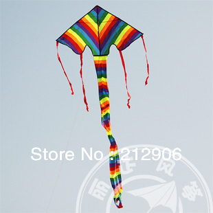 free shipping High quality long tails rainbow delta kites with handle line ripstop nylon fabric kite outdoor toys parafoil