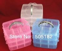 hot sale Multi Utility jewel Storage Case Box plastic 3 Layer Nail Art Craft Fishing Makeup Tool casket Hard Rack Free Shipping