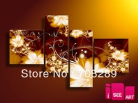 oil paintings on canvas brown beautiful bright flower home decoration Modern abstract Oil Painting wall art 4pcs/ set b782