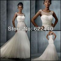 Unique Design See Through Beaded High Neckline Organza Mermaid Bridal Wedding Dresses Free Shipping