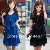 2014 women's plus size clothing summer slim chiffon one-piece dress short-sleeve female xxl xxxl xxxxl knee-length dress