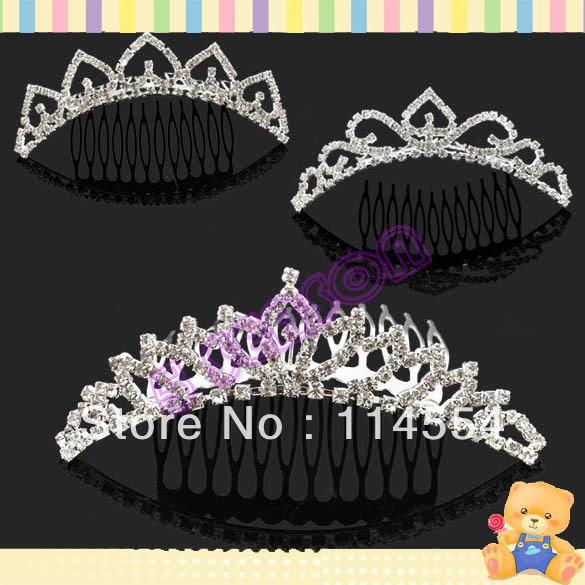 Fashion Crown Rhinestone Tiara Comb Bridal Party Wedding Prom Accessory Inserting Headdress Free Shipping 13316(China (Mainland))