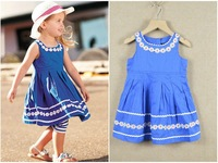 QZ-287,Free Shipping!Top quality baby dresses Western style girl princess dress summer kid sleeveless dress Wholesale And Retail