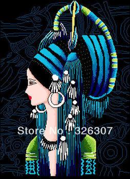 Новый незаконченный вышивка крестом комплект - устанавливает Yunan национальный тенденция re - цвет девушка ремесленные статья большой картина