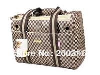 New arrival Khaki checked jacquard nylon Pet Dogs Carrier Bag