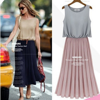 free Shipping western style good quality chiffon sleeveless plus size casual dress women dresses new fashion 2013 autumn summer