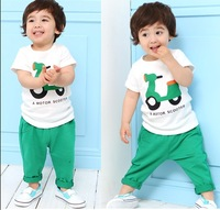Kids suit summer Cartoon clothing set 500pcs in stock Motorcycle t shirt+pants 5set/lot Baby boys  clothing free shipping
