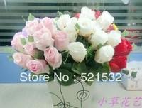 silk fashion floral wedding bride bouquet rose 12 rose artificial flower wholesale wedding flower 5pcs/lot