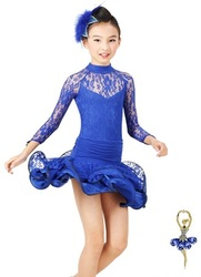 2013 new arrival girl long sleeve Lace Latin dress 6~13T Child/Kid Modern dance/perform costume/wear Mix color&size Free ship(China (Mainland))