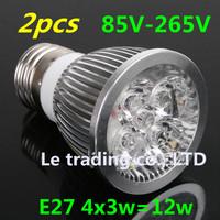 2pcs/lot Home Garden High Power Dimmable  E27 4X3W 12W LED lighting Spotlight led bulbs led lamp 85-265V free shipping