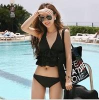 Free shipping New Hot spring swimsuit bikini black bikini girls swimwear 1 sets women split twinset