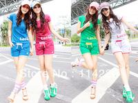New Summer Fashion Printed Leisure Pur Cotton 2PCS Active Clothing Set Short Sleeve Sweatshirt+Shorts Students Sport Suits