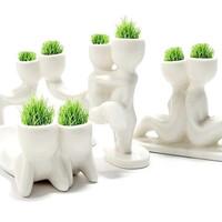 1 Piece  DIY White Man Lovers Plant Ceramic Porcelain Grass Planting Free Shipping