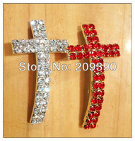 HOT 16pcs Mixed Curved SideWays White and Red Double Crystal Rhinestones Cross Bracelets Connector Charm Beads Jewelry findings