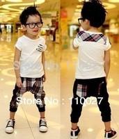2014 baby summer clothing set boy short sleeve tshirt tops + grid harem pants fashion cotton suit clothes 5pcs/lot free shipping