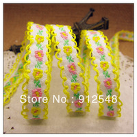 "free shipping 3/8""(10mm) chromophous embroidery ribbon laciness mobile phone strap diy handmade clothes accessories,xh017"