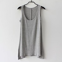 2013 free shipping, new arrival hot saleM-4xl fashion plus size loose vest modal irregular basic shirt sleeveless T-shirt female
