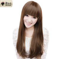 Flag realistic wig long straight hair high temperature wire hk-76