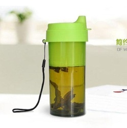 Free shipping brief ike plastic tea cup transparent outdoor rope carry glass cup(China (Mainland))