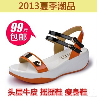 2013 genuine leather in wedges female sandals platform paltform casual slimming shook his women's open toe shoes(China (Mainland))