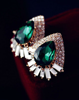 2013 Top fashion design luxury green/blue crystal stone colour stud earrings for women statement jewelry, Free shipping
