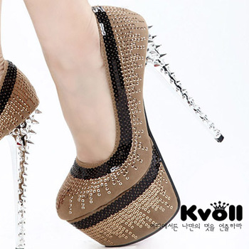 Free shipping brand Kvoll 2013 women's fashion velvet sequined rivets pumps lady's platform pumps design paillette pumps 35-39