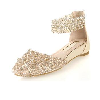 Genuine leather sandals sweet rhinestone wedges female shoes crystal wedding shoes size