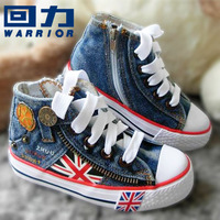 best selling size 25-35 fashion children canvas shoes children shoes kids sneakers for boys and girls jeans flag