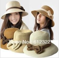 Retail 2013 fashion summer women sun hat,women beach hats,Large brimmed straw hat, women's cap, free shipping