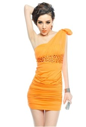 Free shipping 2013 high quality elegant one shoulder pleated beaded one shoulder tube dress - CAD781(China (Mainland))