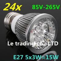 24pcs/lot E27 Dimmable 5X3W 15W 85V-265V LED Lamp LED Light Bulbs Spotlight Warm White/Cool White free shipping