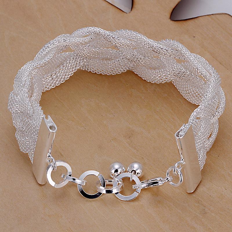 Free shipping,wholesale,Net shape woven 925 silver bracelets,fashion jewelry, 925 silver fashion jewelry bracelets Hot PCH253(China (Mainland))