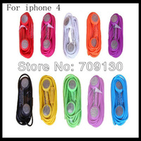 100pcs/lot 3.5mm good quality colorful Earphone with Mic For iPhone 4 4S 3GS