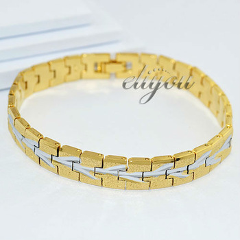 New Fashion Jewelry 9mm Men Women 18K Yellow & White Gold Filled Bracelet Branches Pattern Polished Chain Free Shipping DJB17
