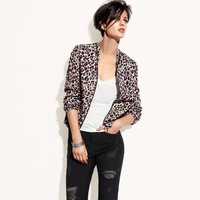 2013 top selling women Leopard print short design jacket zipper around bags elastic cuff sweep lining