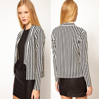 203 top selling women  shawl collar black and white stripe no button stripe womens long-sleeve suit blazer outerwear